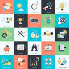Vektor: Set of flat design style concept icons for internet marketing