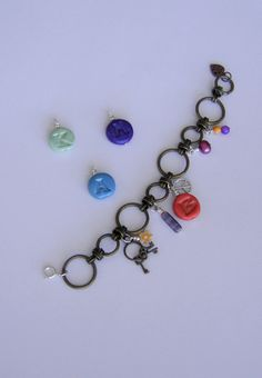 Personalized boho bracelet charms Initial tag clay by BBBsDesigns, $14.00