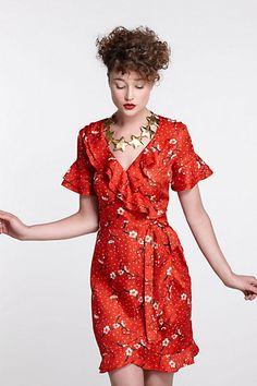 Sakura Dot Wrap Dress  #anthropologie