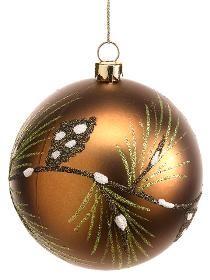 "XN1084-BZ ~~   4"" Glittered Plastic Pine Cone Ball Ornament"