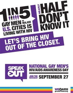 Today is National Gay Men's HIV/AIDS Awareness Day. Follow AIDS.gov on facebook and @CDC_HIVAIDS on twitter to find out more about the disease and what is being done to stop it from spreading.
