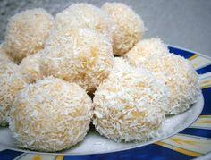 """Fitness """"cukrászat"""": édességek, sütemények, kekszek, torták: Raffaello-golyó : glutén-, tejtermék-, tojásmentes"""