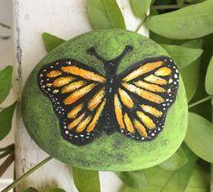 Painted Butterfly Painting - on a Beach Rock - garden - art - CreatedCanvases  | eBay