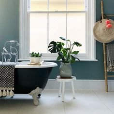 My chill out zone. bathroom painted in Farrow and Ball Oval Room Blue and the roll top bath in Black and Blue. Oval Room Blue, Blue Rooms, Home Living Room, Living Spaces, House Color Palettes, Living Room Decor Colors, My Ideal Home, Hygge Home, Room Tour