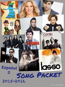 song packet for Spanish 2 Spanish Songs, Spanish Class, Teaching Spanish, Waka Waka, Prince Royce, Enrique Iglesias, Teaching Music, Music Lessons, Shakira