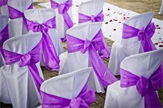 White chair covers with purple bows.