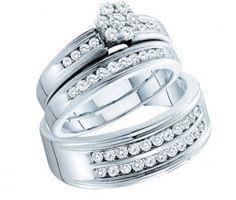 Diamond Engagement Rings Set & Wedding Bands 14k White Gold (1.00 CT)  #Diamond #wedding #Engagement #Ring #fashion #Jewelry