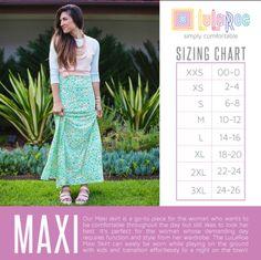 Lularoe Maxi Skirt Size Chart Join the fun! https://m.facebook.com/LulaChicGirls/  #lularoe #lularoemaxiskirt #lularoemaxi