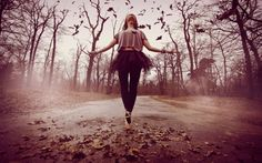 Autumn Dance - trees, forest, dance, girl, road, leaves, music, autumn, seasonal