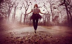 Autumn Dance - trees, forest, dance, girl, road, leaves, music, autumn, seasonal