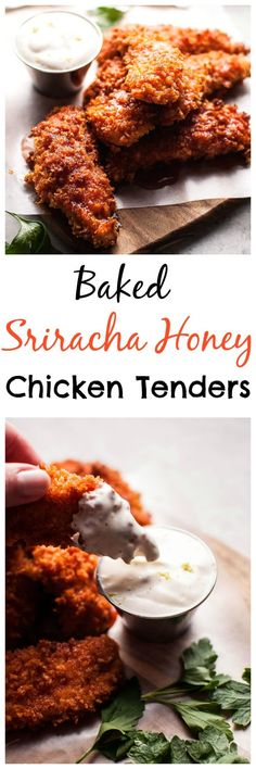 These baked sriracha honey chicken tenders are crunchy, spicy, sweet, and sticky. Served with a refreshing dipping sauce on the side!