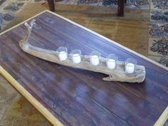 Driftwood votive candle holder. $25.00, via Etsy.