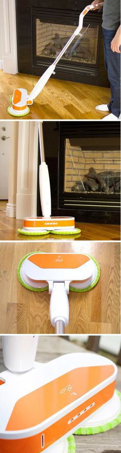 The Electronic Spin Mop comes with motorized bristles, and without the bumbling AI of a Roomba, this thing brings much needed innovation to the lowly old mop. It comes with interchangeable rotating heads made of microfiber that clean easily, and are easy to clean too.