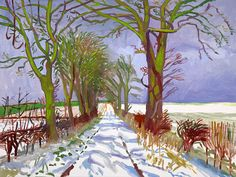 David Hockney   Winter Tunnel with Snow, March 2006 ,   oil on canvas 36  x 48 inch.