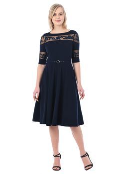 A sheer tulle yoke and sleeves provide coverage and highlight the floral embellishment of our soft cotton knit dress that flatters your figure in a fit-and-flare silhouette. Party Dresses For Women, Dresses For Work, Work Outfits, Off Shoulder Lace Dress, Mature Women Fashion, Embellished Dress, Custom Dresses, Knit Dress, Fit And Flare