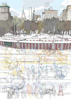 Union square-New York Rupert Vanwyk I Love Nyc, City Illustration, Union Square, Landscape Drawings, Urban Sketchers, Urban Landscape, Art Sketchbook, Travel Posters, Illustrations Posters
