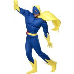 DisfracesMimo, disfraz de bananaman platano divertido deluxe talla l para hombre adulto, este traje para tematica de humor o superheroes cachondo y divertido. Él obtiene su fuerza comiendo plátanos. Antes de comer, Bananaman es un joven llamado Eric.