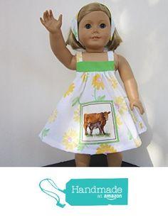 4H Farmgirl Mama & Baby Cow Sundress + Reversible Head Scarf fits American Girl from Pawprint Pals https://www.amazon.com/dp/B06X14NRZL/ref=hnd_sw_r_pi_dp_6c8MybP5Z0ZG8 #handmadeatamazon