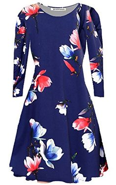 dd87c79f4d898f New Womens ALine Long Sleeve Floral Printed Swing Dress Flared Mini Dress  Top      AMAZON BEST BUY -affiliate link