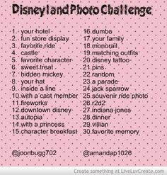 Disneyland vacation photo challenge for Instagram. We couldn't find one that wasn't a daily fan challenge, so my daughters and I created this challenge for our 3 days in the park July 2013!