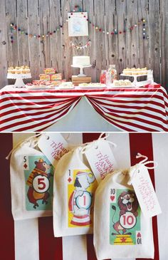 Real Party : Simple ideas like the striped fabric on the buffet or the circus-themed favor bag iron-ons make this adorable party memorable!