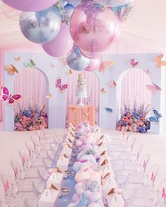How cute is this butterfly theme party? Pastel baby blue and baby pink metallic balloons are now available 💕 Girls Birthday Party Themes Birthday Party Decorations, Baby Shower Decorations, Party Themes, Birthday Parties, Party Ideas, Butterfly Party Decorations, Birthday Ideas, Theme Ideas, Parties Kids