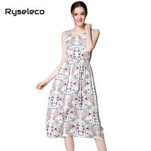 Ryseleco Women Summer Dresses 2017 Vintage Floral Prints Sleeveless Tank Vestidos Casual Brief Beach Wear Mid-calf Sundresses