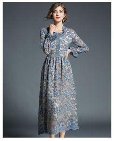 abcaad8d10 Elegant Vintage Flower Hollow Out Long Sleeve Lace Dress - Uniqistic.com  First Date Dress