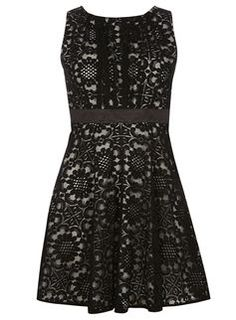 **Mela Black Bow Back Lace Dress