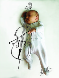 Cute sketches imagine what a baby is doing while taking a nap. {Artwork by: Adele Enerson} Playing the Cello - I can tell now that this is what my children will look like! Cool Baby, Baby Kind, Baby Love, Adele, Baby Pictures, Baby Photos, Baby Images, Blog Fotografia, Cute Sketches