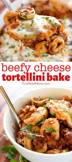 Beefy Cheese Tortellini Bake ~ loaded with tortellini, marinara sauce, and mozzarella cheese, this effortless pasta dinn Beef Tortellini Recipe, Baked Cheese Tortellini, Sausage Tortellini, Tortellini Pasta, Easy Tortellini Recipes, Casserole Recipes, Pasta Recipes, Beef Recipes, Cooking Recipes