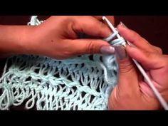 Chal (shawl) de granny imitación horquilla tejido a crochet con lana angora! - YouTube