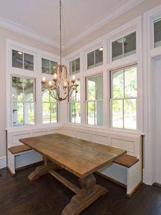 Banquette, love the Farmhouse/Harvest trestle kitchen table.