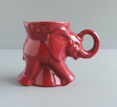 Vintage Frankoma Pottery 1984 Elephant Mug, Republican GOP, Mulberry D215-868, Political Collectible by TheLogChateau on Etsy