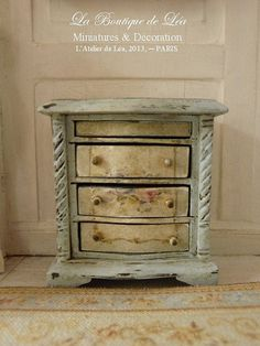 Romantic bedside - Shabby blue - Furniture for French dollhouse in 1:12th scale on Etsy, $68.29