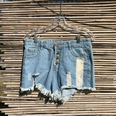 2e29caf78f7 Details about Repurposed Light Wash Distressed Denim Shorts