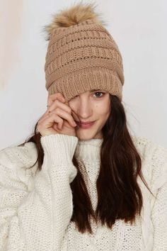 Keep Pom Ribbed Beanie - Brown | Shop Accessories at Nasty Gal!