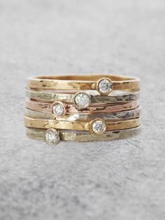 Solitaire Diamond Stacking Rings...except mine would be princess cut