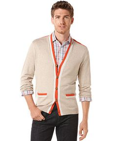 Perry Ellis Sweater, Contrast Trim Cardigan - Mens Sweaters - Macy's