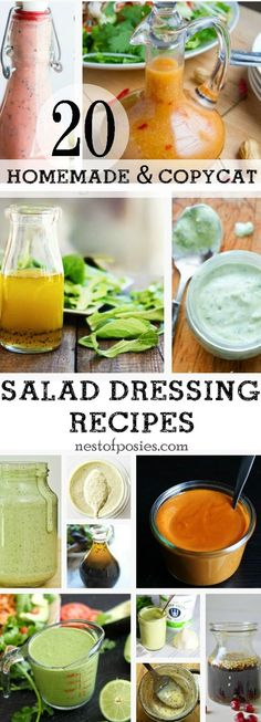 This post of 20 Homemade Salad Dressing Recipes will cure your search of homemade goodness on a salad, fruit or even a homemade marinade. All are delicious