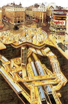Here is  Piccadilly Circus cutaway, London Transport Museum, 1989. Illustration by Gavin Dunn.Cuta