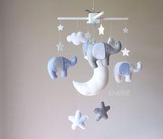 Baby Crib Mobile Baby Mobile elephant mobile Mobile gray
