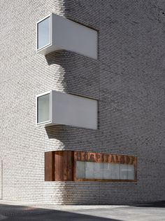 Hospitalhof in Germany by Lederer Ragnarsdóttir Oei (photography by Roland Halbe) its wanderful! Architecture Design, Facade Design, Amazing Architecture, Contemporary Architecture, Exterior Design, Stone Exterior, Public Architecture, Brick Facade, Building Facade