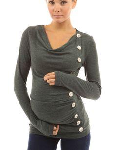 *New* Grayish Green PattyBoutik Mama Cowl Maternity Tunic Top (Size Small) - Motherhood Closet - Maternity Consignment