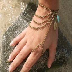 Fashion Womens Boho Turquoise Bracelet Multilayer Harness Hand Chain Bangle Ring #UnbrandedGenenic #HarnessBraceletRing