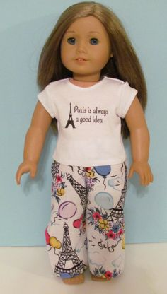 Hey, I found this really awesome Etsy listing at https://www.etsy.com/listing/216592881/american-girl-paris-print-pajama-pants