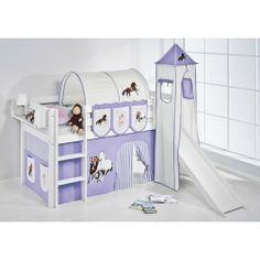 Hochbett mit Rutsche und Turm weiß PFERD - JELLE | Kids high bed with slide and tower #lilokids #hochbett #kidsbed