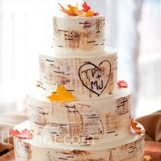 A tree bark-inspired fondant adorned with fall colored leaves and the bride's and groom's initials etched in the side.