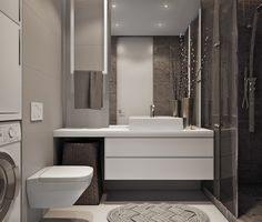 Modern European bathroom/laundry combo with a very cool ceiling-hung towel holder.