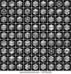 81 3d cube icons set